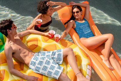 Swim Shorts Mockup of a Man With a Woman in a Swimsuit 32683