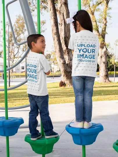 Back View Mockup Featuring Two Kids with T-Shirts at a Playground 31661