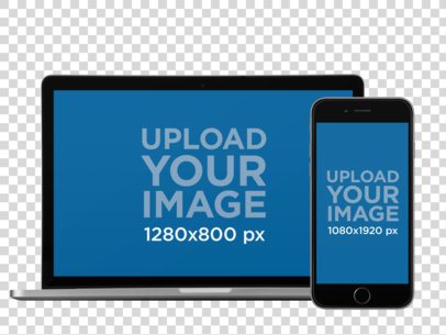 iPhone in Portrait Position and MacBook Pro Over a Flat Background Mockup a12314