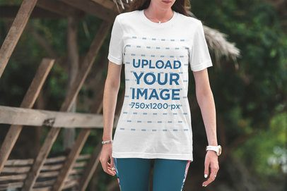 T-Shirt Mockup of a Woman with Nature in the Background 3344-el1