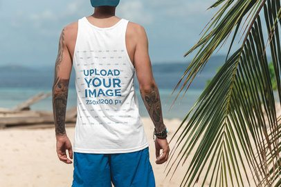 Back View Mockup of a Man Wearing a Tank Top at the Beach 3319-el1