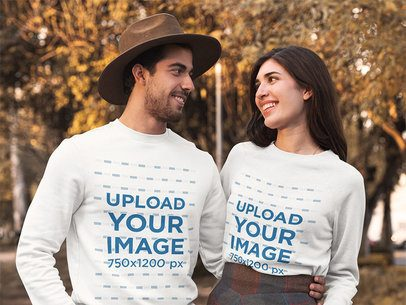 Crewneck Sweatshirt Mockup of a Couple Posing at a Park During Autumn 31807