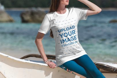 T-Shirt Mockup of a Woman at the Beach on a Sunny Day 3334-el1