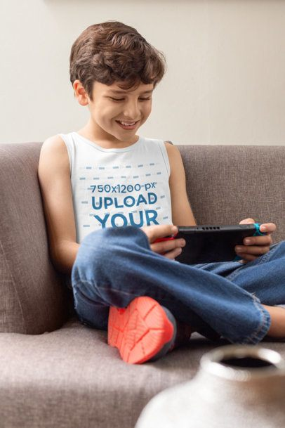 Tank Top Mockup of a Happy Kid Playing Video-Games at Home 32355