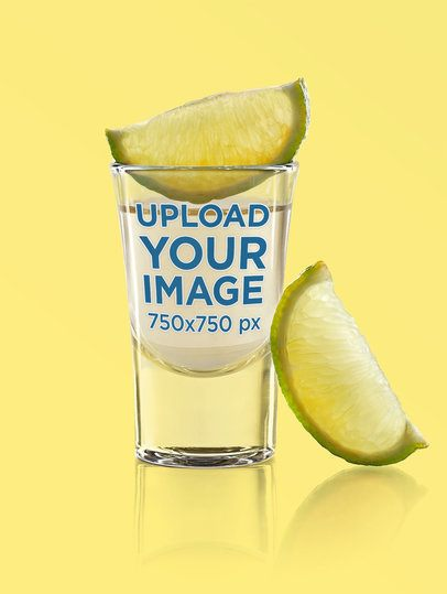 Shot Glass Mockup with Lime Slices and a Customizable Background 3210-el1
