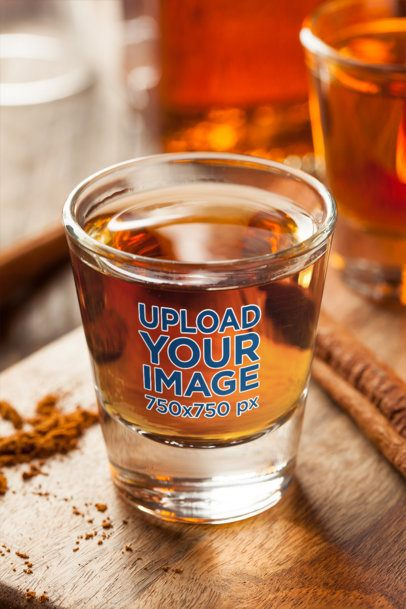 Mockup of a Shot Glass With Whiskey in It 3220-el1