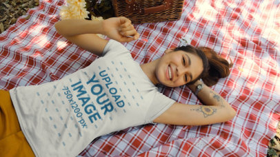T-Shirt Video of a Woman on a Picnic Lying Down 32738