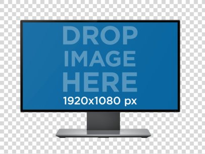Single Desktop Mockup in Front View Over a Null Background a12335