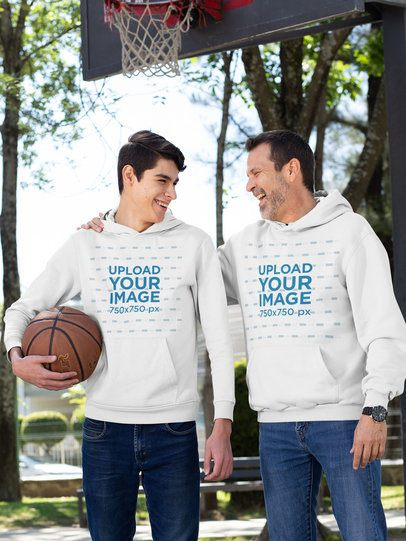 Pullover Hoodie Mockup Featuring a Father and His Son at a Basketball Court 33088