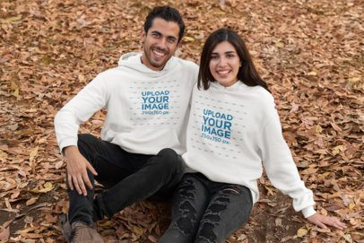 Hoodie Mockup of a Young Couple in Autumn 31806