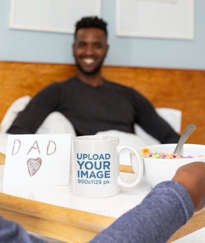 11 oz Coffee Mug Mockup of a Dad Receiving Breakfast in Bed 33102