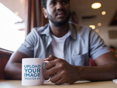 Coffee Mug Mockup of a Man at a Diner a12321