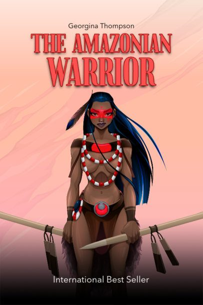 Fantasy-Genre Book Cover Maker with a Female Warrior Illustration 499a-el1