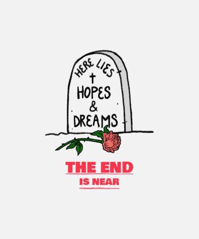 T-Shirt Design Maker Featuring a Grave Doodle and a Hopeless Message 2335k