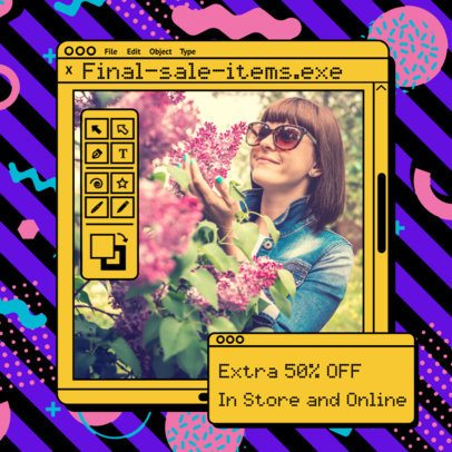 Instagram Post Maker with for a Sales Announcement with a Retro Style 2344k