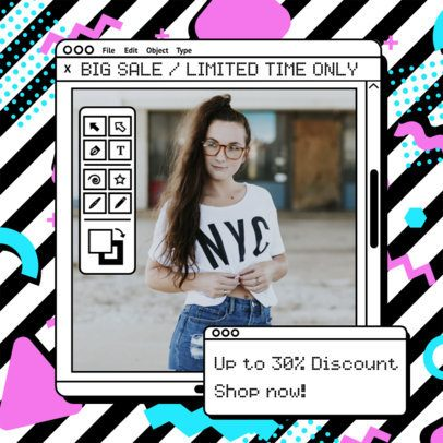 Retro-Style Instagram Post Template for a Discount Announcement 2344l