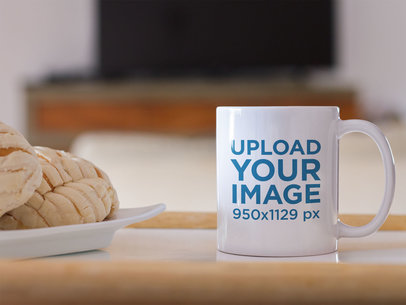 Coffee Mug Mockup with Sweet Bread b12277