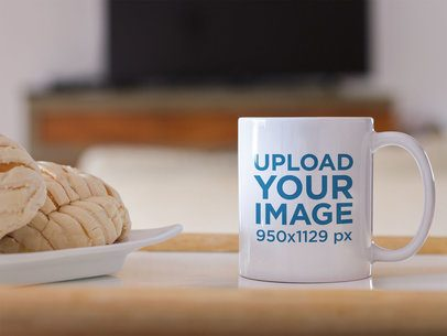 Coffee Mug Mockup with Sweet Bread b12277