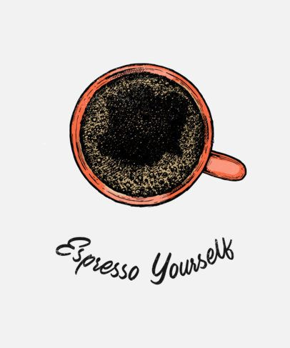 T-Shirt Design Template for Coffee Persons With a Minimal Style 459b-el1