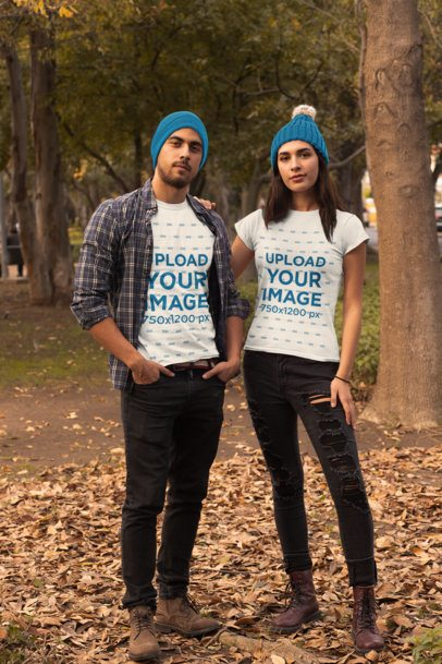T-Shirt Mockup of Two Friends Posing in the Woods 31799