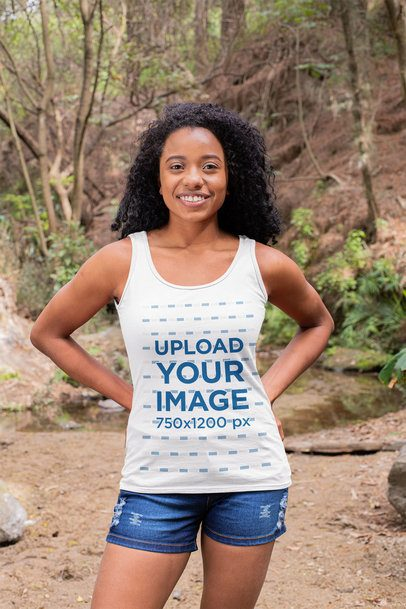 Tank Top Mockup Featuring a Smiling Woman at a Hike 32361