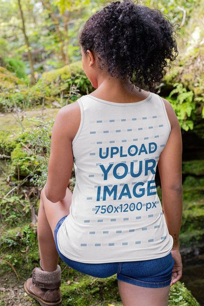Back-View Mockup of a Woman Wearing a Tank Top on a Hike 32366