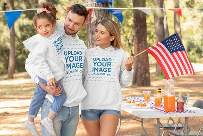 Hoodie Mockup Featuring a Family Celebrating 4th of July 33035
