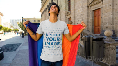T-Shirt Video of a Happy Man Holding an LGBT Pride Flag 33350