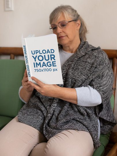 Mockup of an Adorable Granny Reading a Book 32201