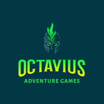 Minimal Logo Template for Adventure Games With a Spartan Helmet Clipart 3033g