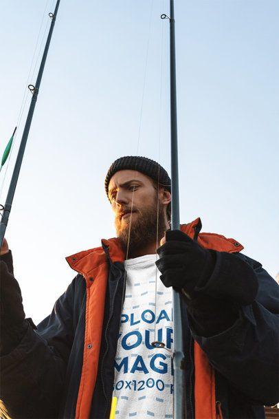 Mockup of a Fisherman Wearing a Sweatshirt 3237-el1