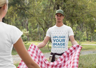T-Shirt Mockup of a Man Setting Up a Picnic 32234