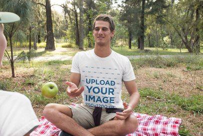 T-Shirt Mockup of a Man Having Fun at a Picnic 32237