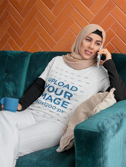Mockup of a Woman with a T-Shirt and Hijab Talking on the Phone 32389