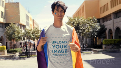 T-Shirt Video of a Man Proudly Waving an LGBTQ Flag 33362
