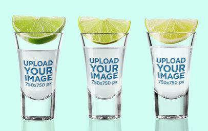 Mockup of Three Shot Glasses with Limes on Them 3224-el1