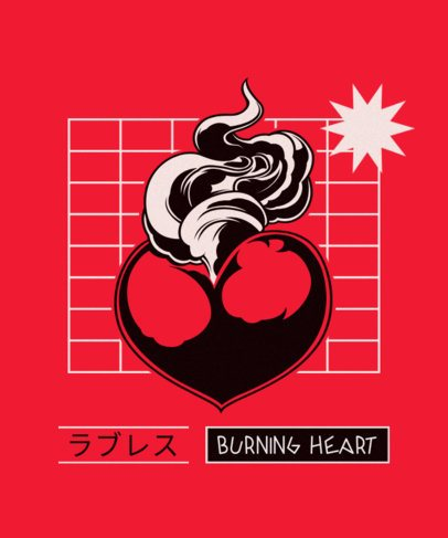 T-Shirt Design Creator with a Burning Heart Graphic 604c-el1