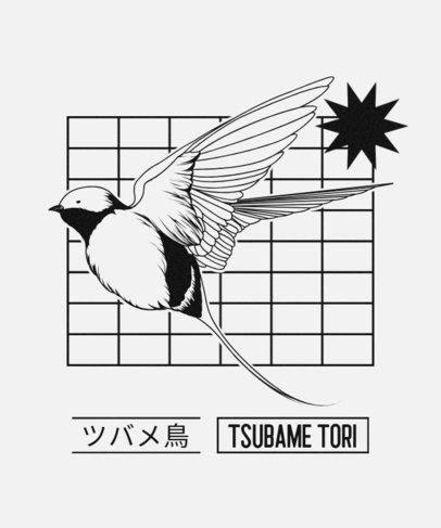 T-Shirt Design Maker Featuring a Tsubame Tori Bird 604b-el1