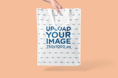 Mockup Featuring a Woman's Hand Showcasing a Grocery Bag 3127-el1