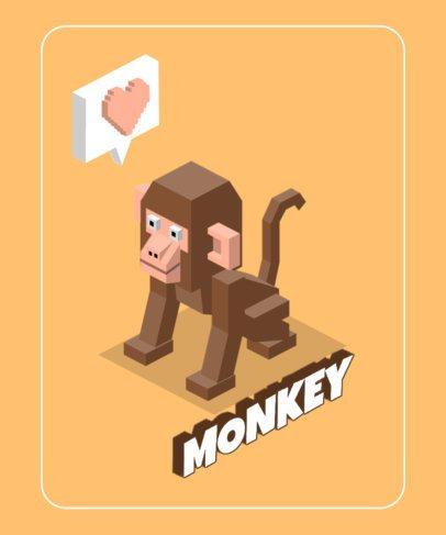T-Shirt Design Maker with an Isometric Monkey Illustration 605f-el1