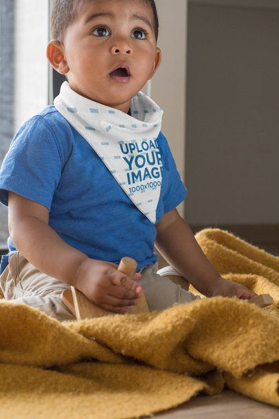 Sublimated Bib Mockup Featuring a Baby Boy Playing with Wooden Toys 32535
