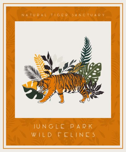 Illustrated T-Shirt Design Template for a Tiger Sanctuary 611b-el1