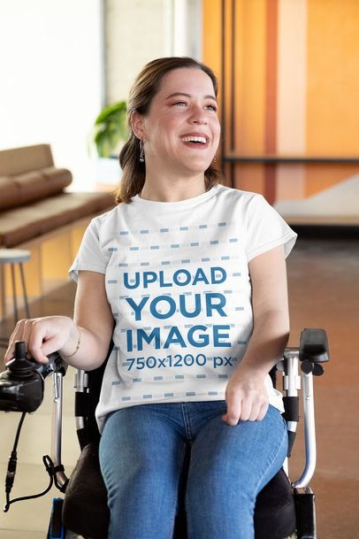 T-Shirt Mockup of a Smiling Woman Using a Wheelchair 32531