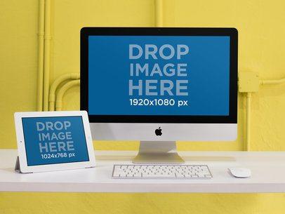 iPad + iMac Responsive Mockup in a Yellow Room a12372