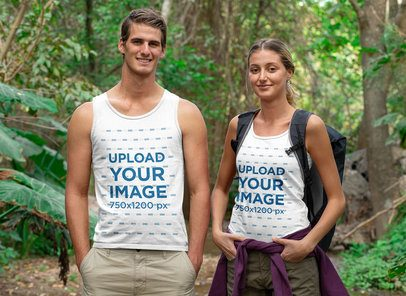 Tank Top Mockup of a Couple of Hikers in the Wilderness 32232