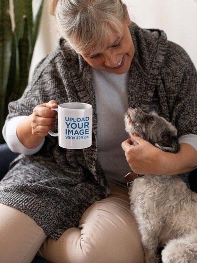11oz Coffee Mug Mockup of a Woman Petting Her Dog 32200