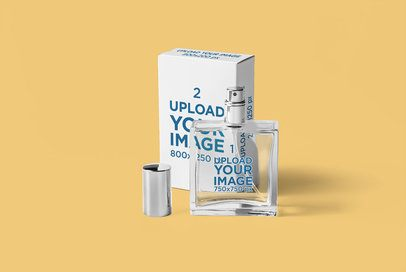 Minimal Packaging Mockup Featuring a Perfume Bottle and Its Box 3294-el1