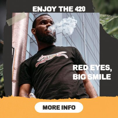 420 Banner Maker Featuring a Photo of a Man Exhaling 2377f
