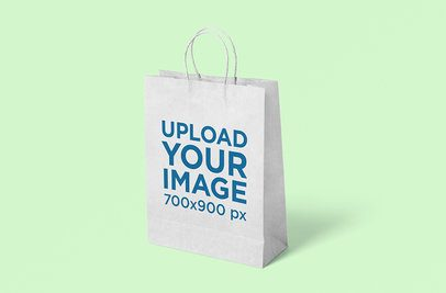 Paper Bag Mockup Featuring a Plain Color Background 3463-el1
