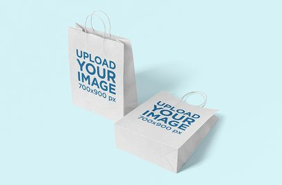 Mockup Featuring Two Paper Bags Placed Against a Solid Color Background 3466-el1